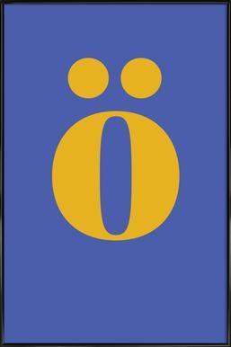 Blue Letter ö -Bild mit Kunststoffrahmen