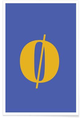 Blue Letter ø -Poster