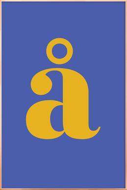 Blue Letter å affiche sous cadre en aluminium