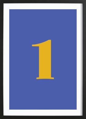 Blue Number 1 -Bild mit Holzrahmen