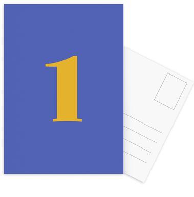 Blue Number 1 -Postkartenset