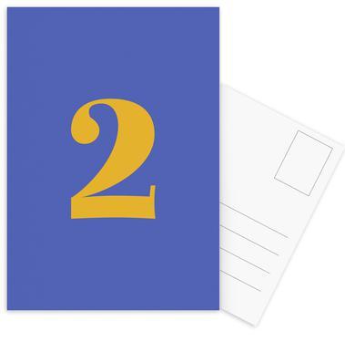 Blue Number 2 -Postkartenset