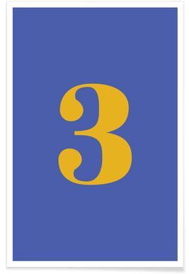 Blue Number 3 -Poster