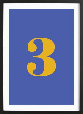 Blue Number 3 affiche sous cadre en bois