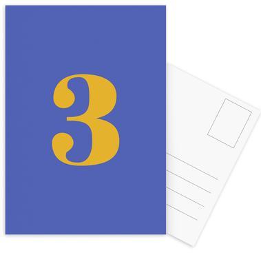 Blue Number 3 -Postkartenset