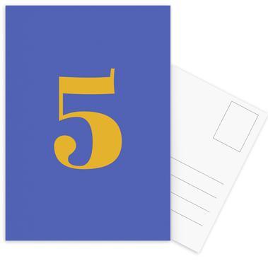 Blue Number 5 cartes postales