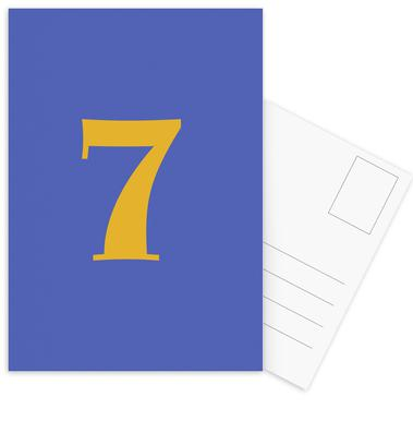 Blue Number 7 cartes postales
