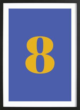 Blue Number 8 -Bild mit Holzrahmen