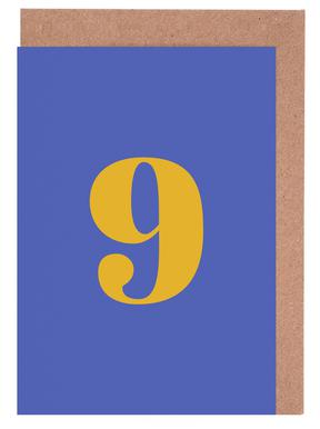 Blue Number 9 -Grußkarten-Set