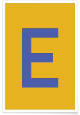 Yellow Letter E affiche