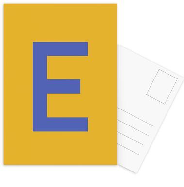 Yellow Letter E Postcard Set