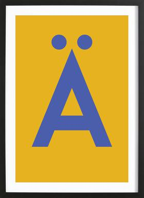 Yellow Letter Ä ingelijste print