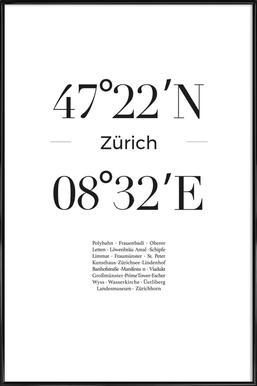 Zürich ingelijste poster