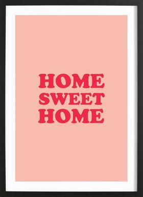Home Sweet Home - Pink -Bild mit Holzrahmen