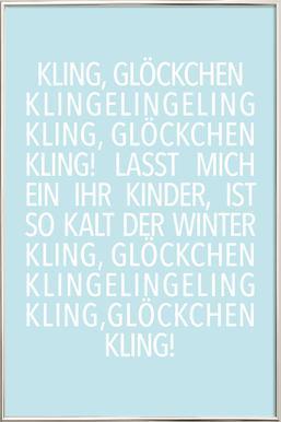 Kling Glöckchen Blue Poster in Aluminium Frame