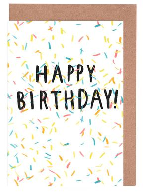 Happy Birthday Confetti -Grußkarten-Set