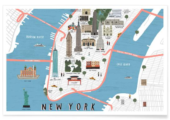 Map Of New York Poster.New York Map Poster Juniqe Uk