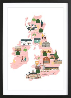 UK & Ireland Beer Map affiche sous cadre en bois