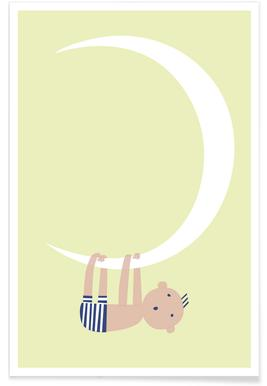 Baby on the Moon - Premium poster