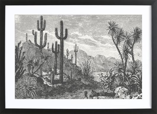Cacti in Mountains ingelijste print