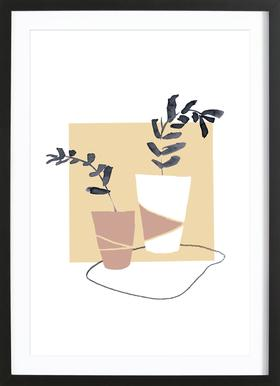 Plants in Vases 04 -Bild mit Holzrahmen