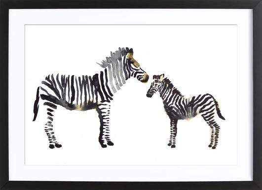 Zebra - Poster in Wooden Frame