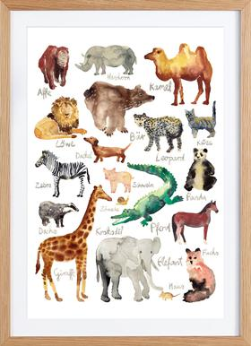 The Animal Kingdom - Poster in Wooden Frame