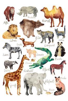 The Animal Kingdom tableau en verre