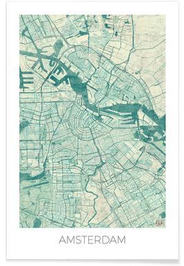 Amsterdam - vintage stadskaart poster