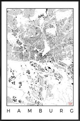 Hamburg Map Schwarzplan - Affiche sous cadre standard