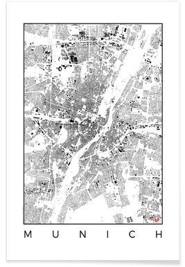 Munich Map Schwarzplan - Premium Poster
