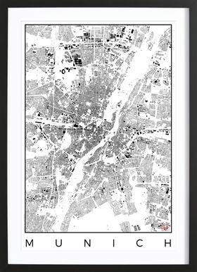 Munich Map Schwarzplan - Poster in houten lijst