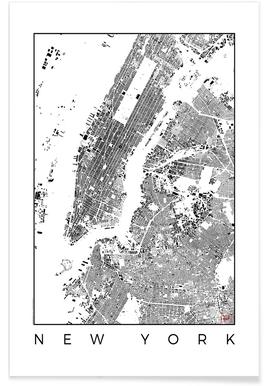 New York Map Schwarzplan - Premium Poster