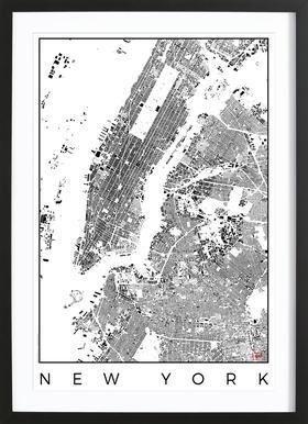 New York Map Schwarzplan -Bild mit Holzrahmen