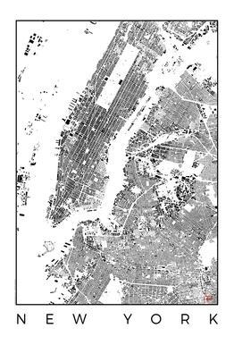 New York Map Schwarzplan -Acrylglasbild