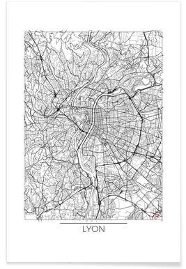 Lyon - Carte minimaliste affiche