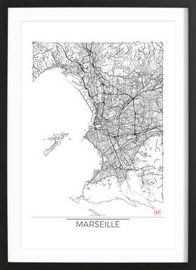 Marseille Minimal affiche sous cadre en bois