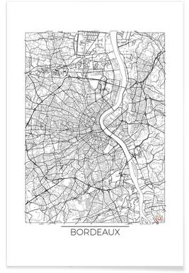 Bordeaux - Carte minimaliste affiche