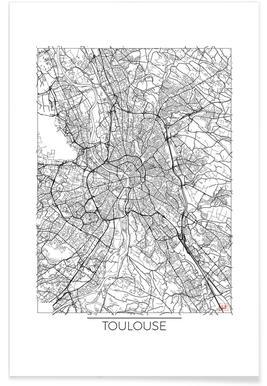 Toulouse - Carte minimaliste affiche