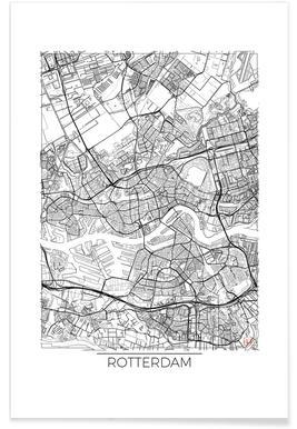 Rotterdam - Carte minimaliste affiche