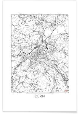 Bern-Minimalistische Stadtkarte -Poster