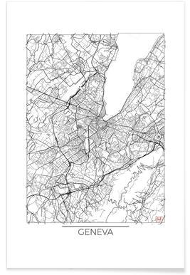 Genève - Carte minimaliste affiche