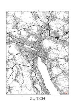 Zurich Minimal Impression sur alu-Dibond