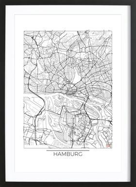 Hamburg Minimal -Bild mit Holzrahmen