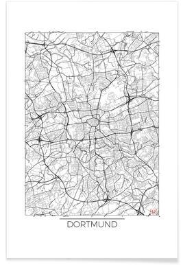 Dortmund - Carte minimaliste affiche