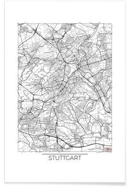 Stuttgart-Minimalistische Stadtkarte -Poster