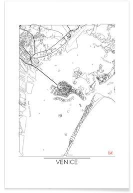Venise - Carte minimaliste affiche