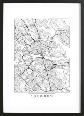 Stockholm Minimal affiche sous cadre en bois