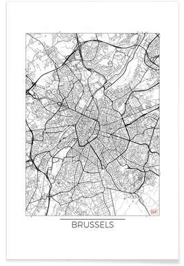 Brussel - minimalistische stadskaart poster