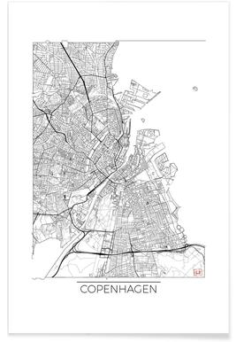 Copenhagen Minimal Map Poster